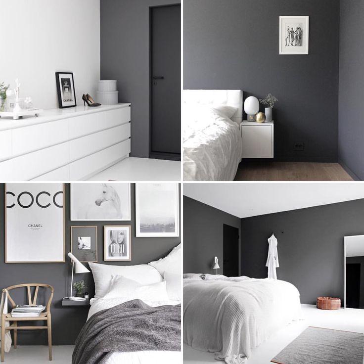 Vill ha den här snygga mörkgrå väggfärgen i vårt sovrum sen bild: @stylizimoblog & @palettenoir #inspiration #notmypic #bedroom #greybedroom #sovrum #gråttsovrum