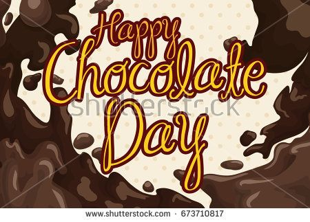 Poster with a delicious liquid chocolate flooding design, ready to celebrate Chocolate Day.