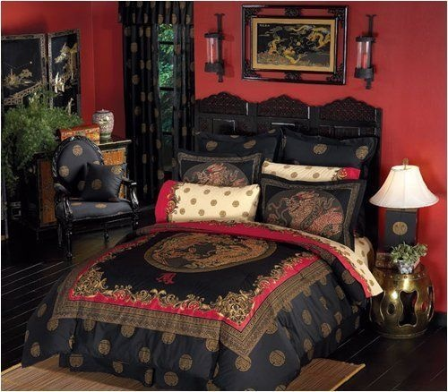 BLACK RED ORIENTAL ASIAN DRAGON 8p King Size Comforter Sheet Bed In A Bag Set