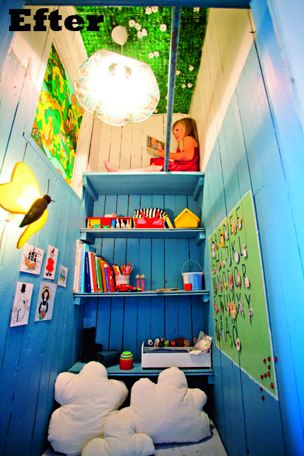 Closet/pantry transformed into an up high READING NOOK - cloud cushions, butterfly pendant, blue walls // photo: Jenny Brandt, via Family Living #children #kids #playroom