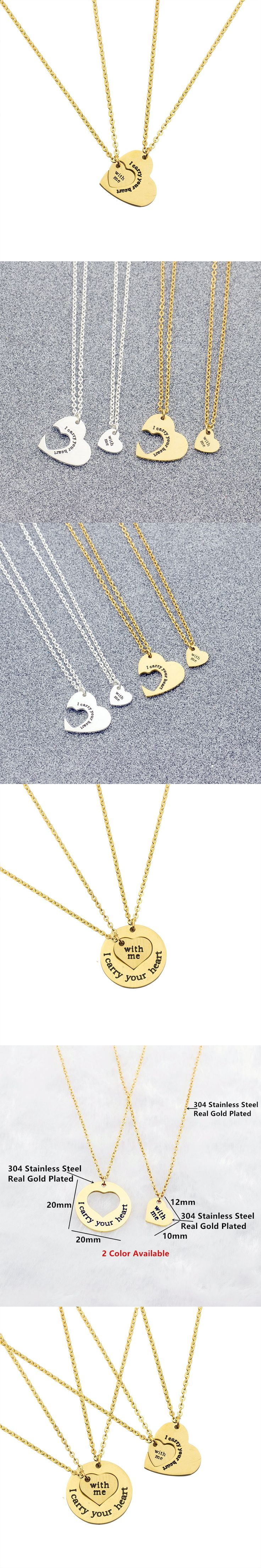 I Carry Your Heart & With Me Set Pendant Necklaces For Couples Promise Jewelry Bride Gifts Women Matching Heart Choker Necklace