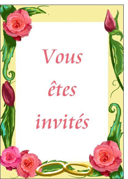 Carte Invitation mariage et cadre fleuri pour envoyer par La Poste, sur Merci-Facteur !
