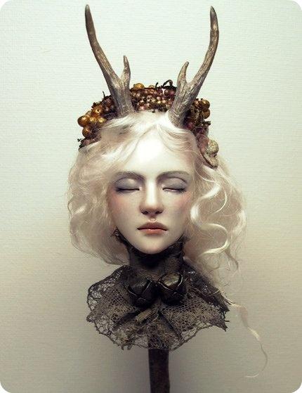 faunHead Sculpture, Clay Bust, Faun3D Character, Deer Headdress, Paper Clay, Rosa Grueso, Art Dolls, White Deer, Nenufares Blanco