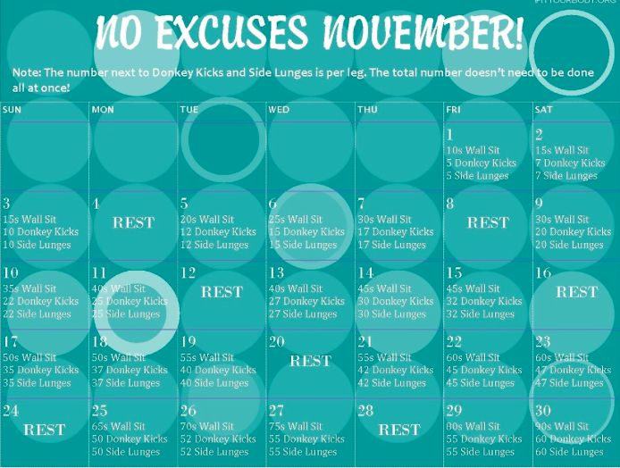 November Fitness Challenge Do you accept this November challenge?