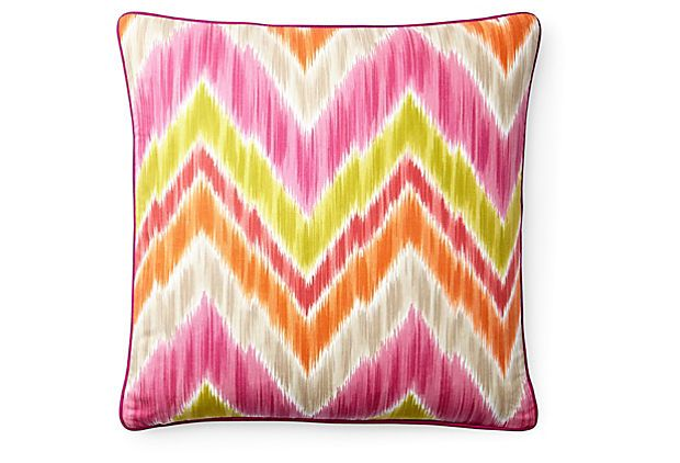 Mountain 20x20 Cotton Pillow, Pink on OneKingsLane.com