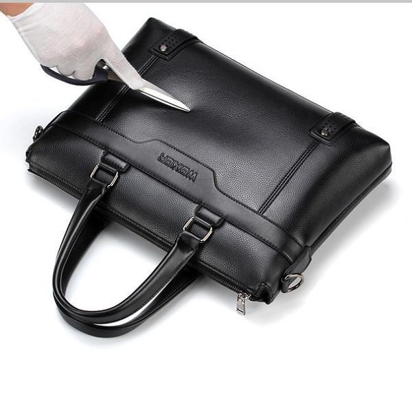 Men Quality PU Leather Simple Business Daily Handbag Laptop Bag Shoulder Bag - US$39.99
