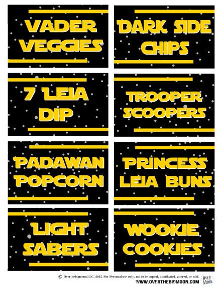 Star Wars Printable Food Lablels for a Star Wars Birthday Party. Part of the Ultimate