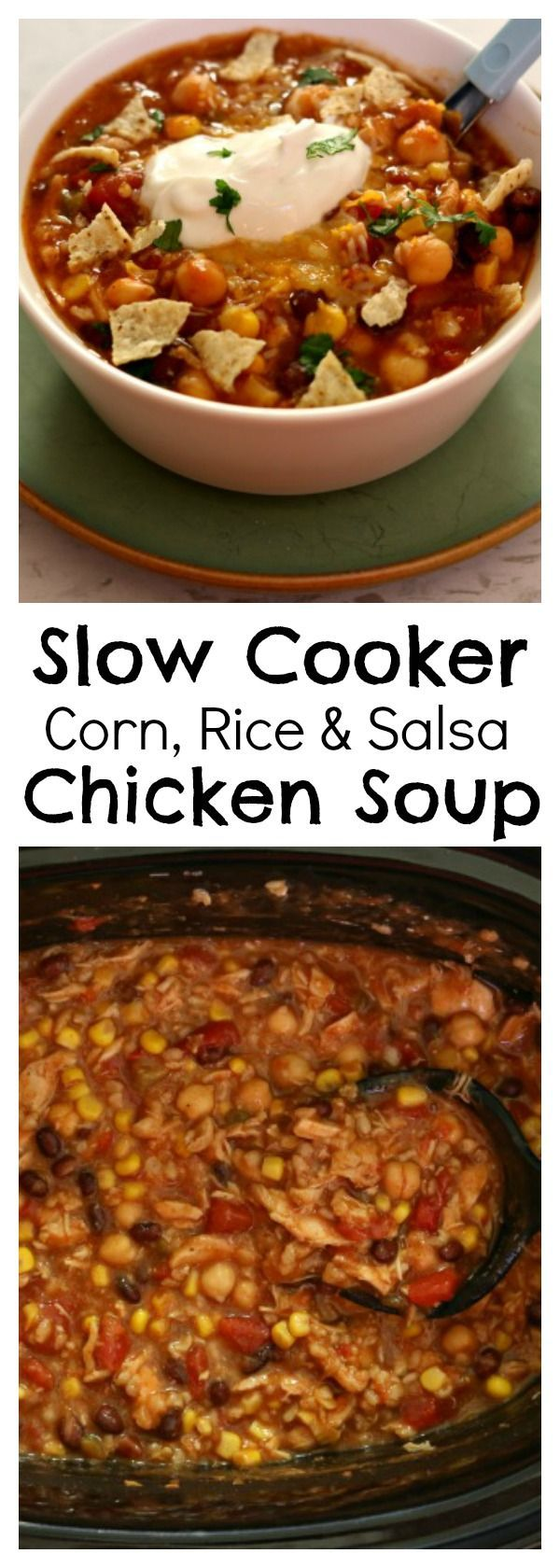 Slow Cooker Corn Rice Salsa Chicken Soup–a thick taco soup with tender, moist pieces of chicken, chewy brown rice, sweet corn, creamy chickpeas, spicy salsa and black beans.