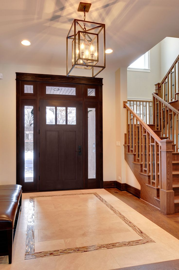 Custom Wood Front Entry Doors | Craftsman Mahogany Door -Sidelites, Beveled Glass  - Glenview Haus - Custom Doors, Wine Cellars and Cabinets in Chicago