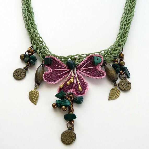 Needle lace necklace with maroon flowers and dark sea by MsPolite, $36.00