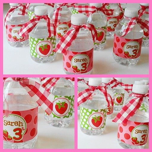 Botellas de agua personalizadas de Strawberry Party