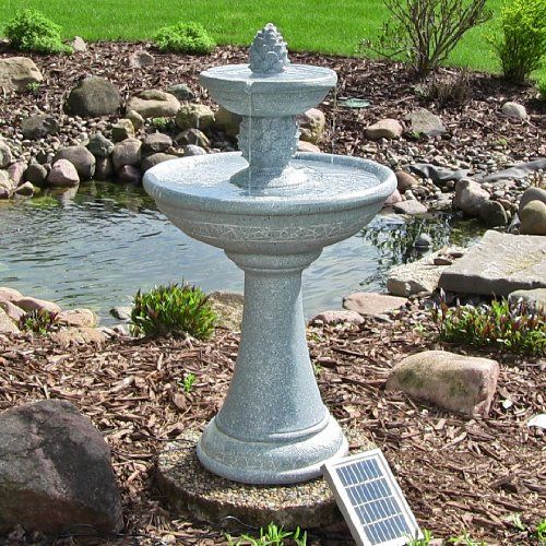 Dual Pinele Tiered Solar On Demand Fountain With Led Lights Outdoor Clics This Can