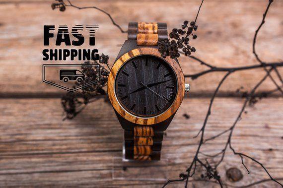 Mens watch,Wood band watch, Bamboo black watch, Engraved men watch, Personalized watch, Wooden watch gift, Unisex watch, Watch for boyfriend