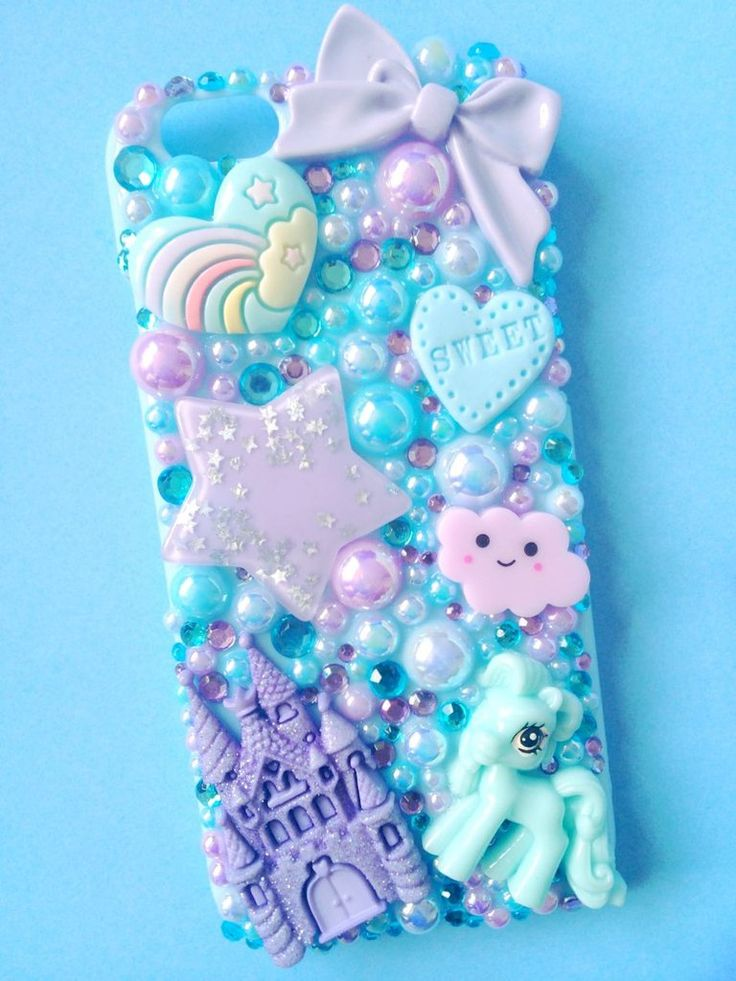 Castle & Pony Baby Blue and Lilac Decoden Phone Case