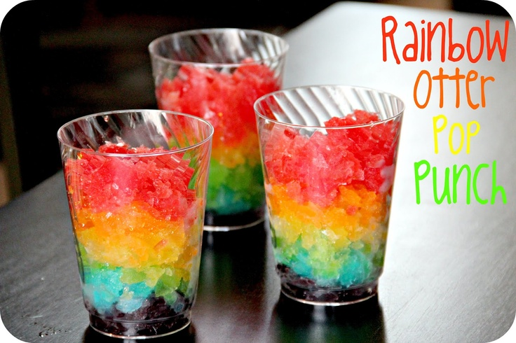 Rainbow Otter Pop Popsicle Punch: Crush up different colors and freeze between layers to prevent colors blending.