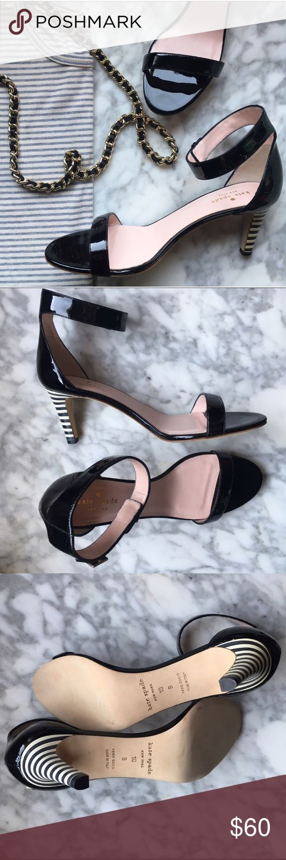 Kate Spade•Elsa Striped Heel Sandal Absolutely darling for spring (and the rest of the year!) Includes dust bag & box. 💕 kate spade Shoes Heels