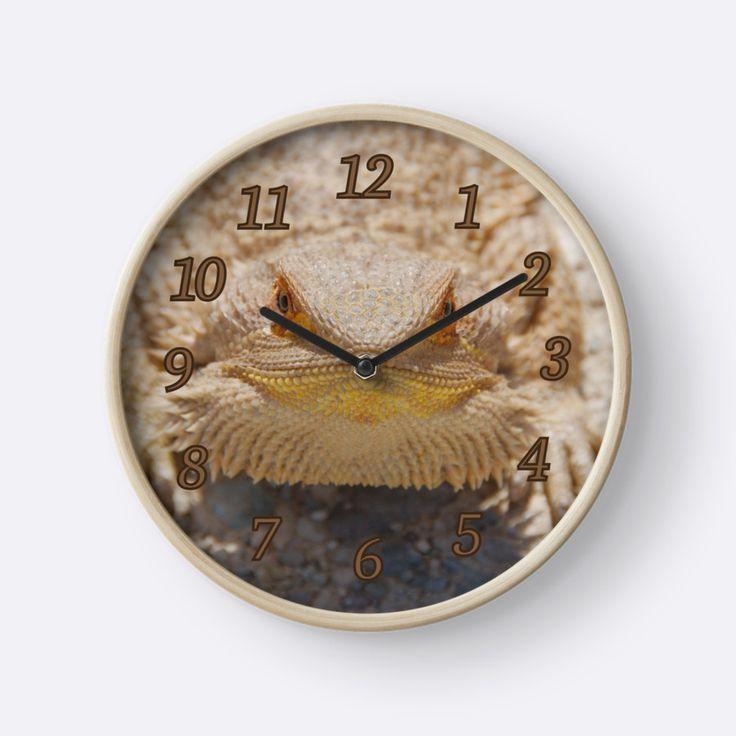 Bearded Dragon Close Up Clock  by TC-TWS