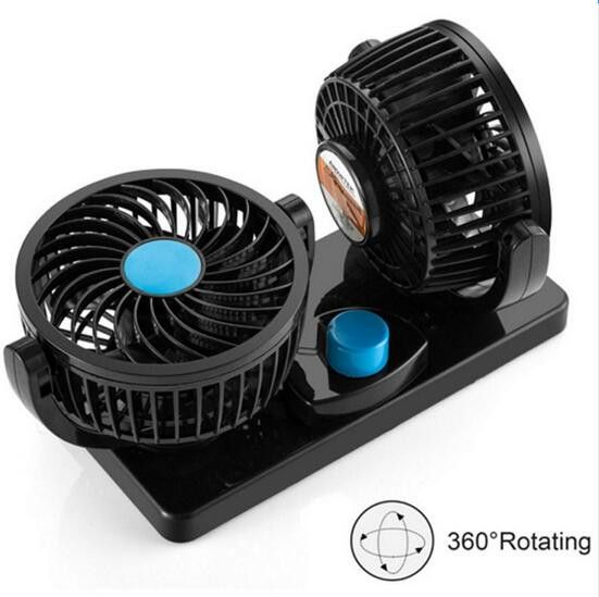 QCHENKIWEI 2 Head 360 Degree Rotating Car Fans Strong Wind Low Noise Car Air Conditioner Portable Auto Air Cooling Fan 12V Black