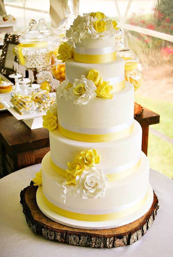 {Rustic U0026 Sweet} Yellow Summer Wedding By Clair Griffiths Of Calamity Cakes