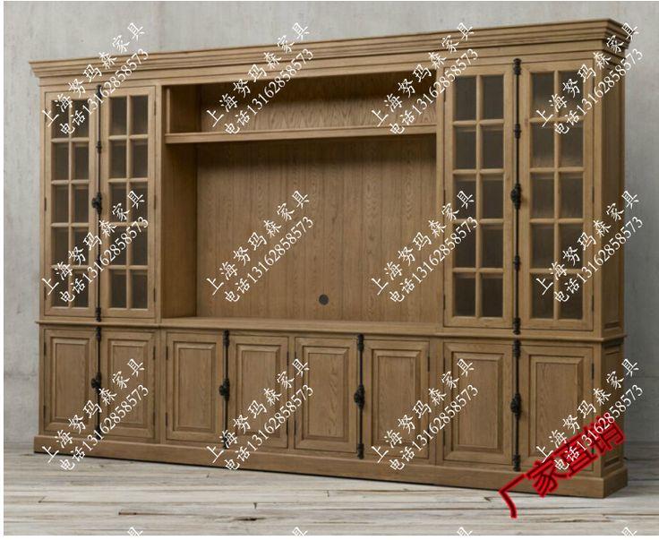 Американский деревянный книжный шкаф американской страны, чтобы сделать старый ретро сделать старый книжный шкаф книжный шкаф сочетание большой французский - Taobao