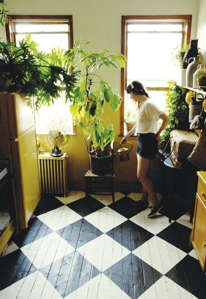 DIY pretty floors and kitchen by Amy Merrick via An Apple a Day: Checkered Floors, Idea, Paintings Wood Floors, Black And White, Mud Rooms, Black White, Floors Design, House, Paintings Floors