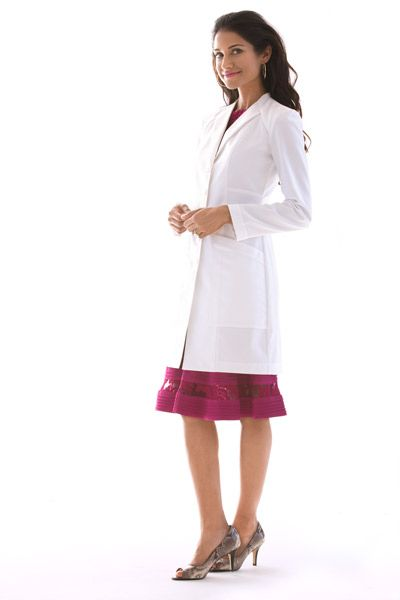 Vera G. Women's Lab Coat by Medelita - A limited edition lab coat featuring a unique new envelope collar and a clean, refined finish.  Truly elegant and extraordinary. Make A Statement.