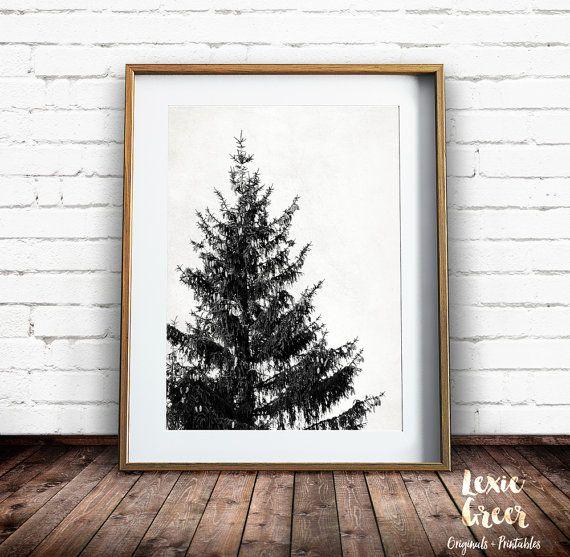 Tree Print Scandinavian Art Black and by LexieGreerPrintables