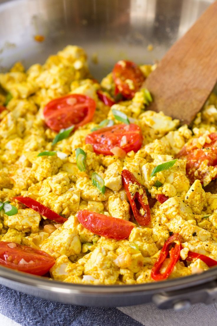 scrambled tofu in a pan, great with fresh ginger added too, and balsamic vinegar!