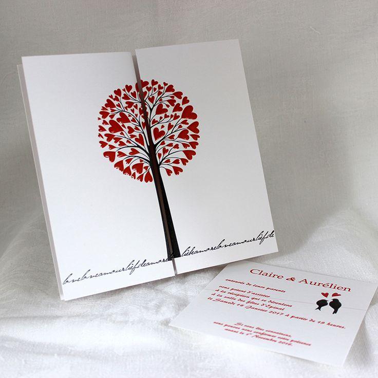 Faire-part Mariage Flamboyant . Carte romantique et champêtre, avec deux arbres, reliés par un fil sur lequel sont perchés deux oiseaux amoureux.