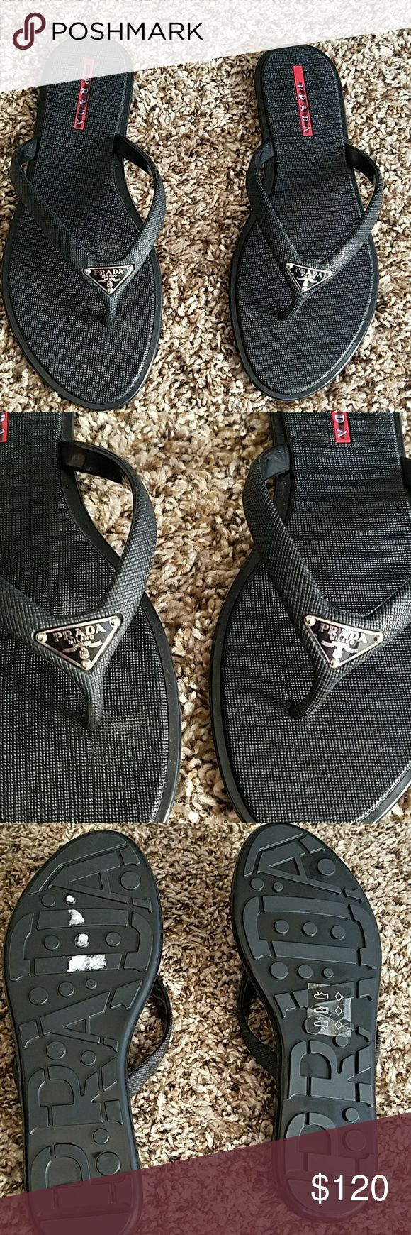 Prada black flip flop sandals Prada flip flop sandals ,great for the beach or pool,or just a warm day!great condition,new unworn!! Prada Shoes Sandals
