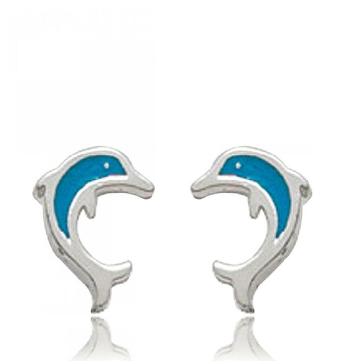 Ladies silver Dauphins blue earrings - Bijoux Paris