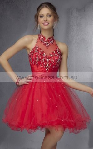 Sleeveless High Neck Zipper Tulle Short Party Dresses zyh099--Hodress