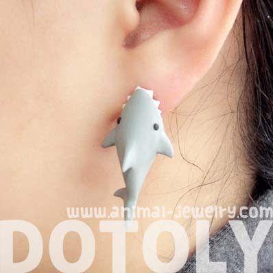 handmade-shark-biting-your-ear-animal-polymer-clay-stud-earring-shark-week