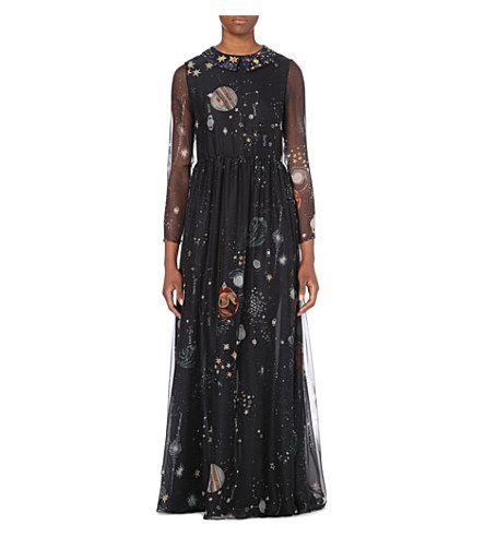 VALENTINO Constellation-print silk-chiffon gown (Blue