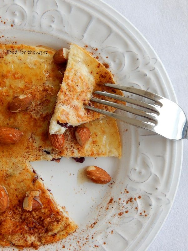 Food for thought: Πρωτεϊνική τηγανίτα με ασπράδι αυγού και βρώμη / Διαιτητικό πρωινό για έναν !
