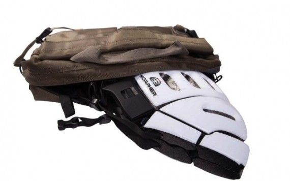 New bicycle helmet collapses to slip easily into a purse or backpack.
