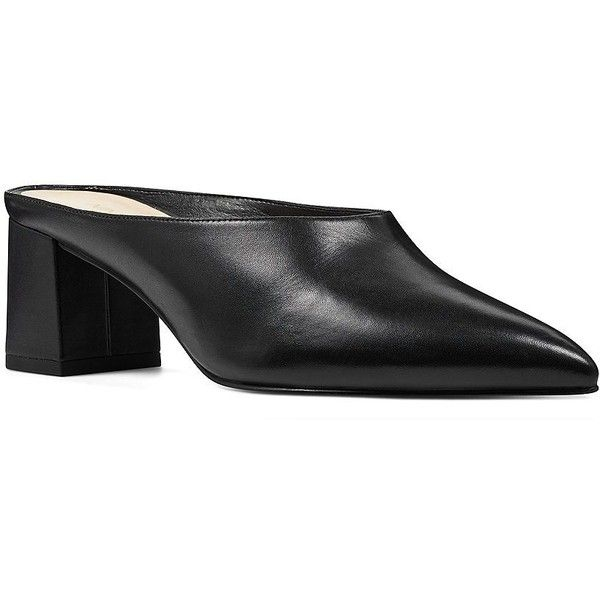 Nine West Women's Helmer Leather Point Toe Mules ($89) ❤ liked on Polyvore featuring shoes, black, leather slip-on shoes, leather mules, black leather shoes, black slip on shoes and black shoes
