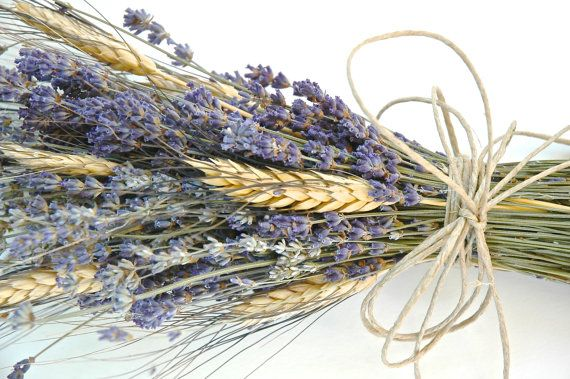 3 Simple Lavender and Wheat Bouquets by paulajeansgarden on Etsy, $35.75