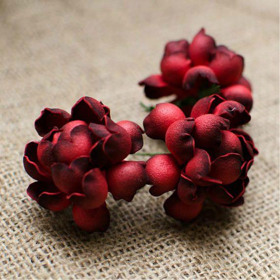 Red Roses Foam Flowers 6 pcs Wedding Flower Jewelery making