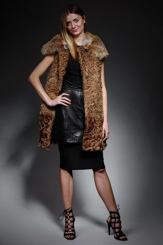 shearling and goat fur vest with detachable fox collar – horovitz
