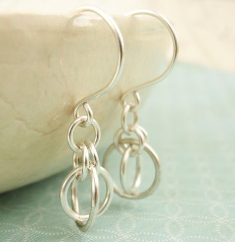 Silver Earrings  Little Orbits by unkamengifts on Etsy, $10.00