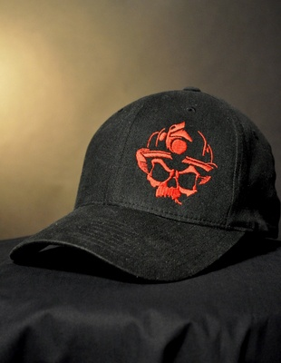 Skull Logo Flexfit Hat - Black/Red- Black Helmet Firefighter Apparel