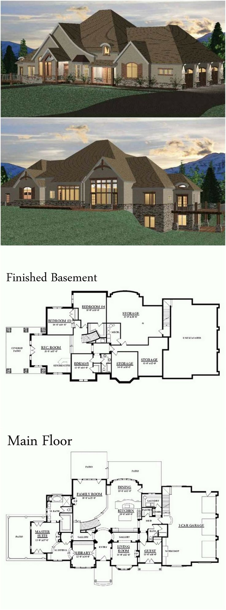 Chateau House Plan with 6011 Square Feet