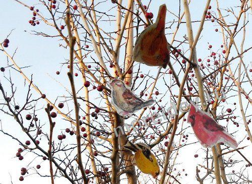 Бумажные птички для украшения двора