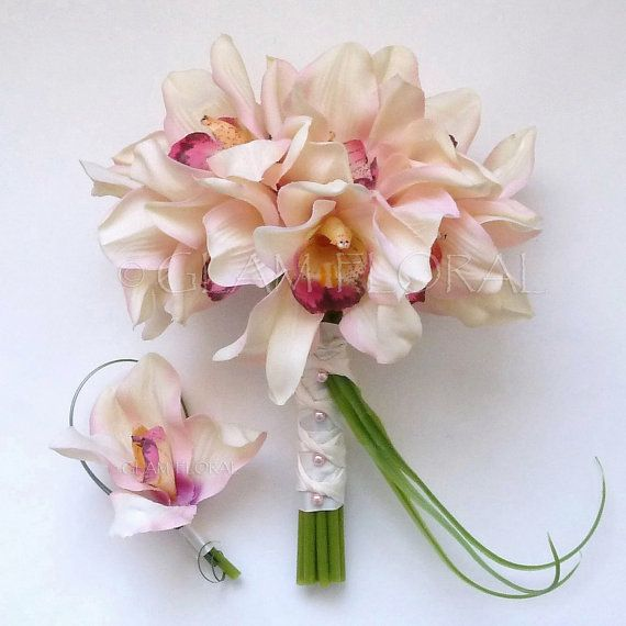 Cymbidium Orchid Wedding Bouquet, white with pink in center, can add yellow plumeria & ti leaf