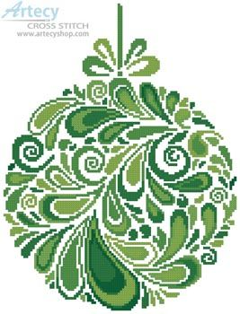 Artecy Cross Stitch. Colourful Christmas Bauble 6 Cross Stitch Pattern to print online.
