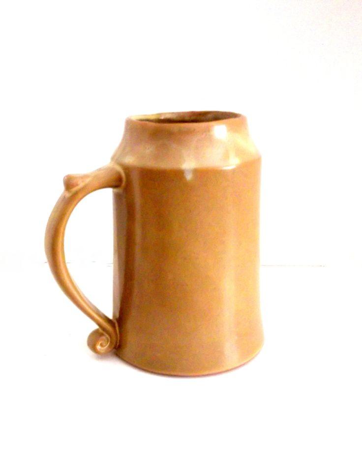 Vintage Ceramic Pottery Mug, Handmade Glazed Pottery Mug, Pottery Mug with Thumb Rest  ** Epsteam by happenstanceNwhimsy on Etsy