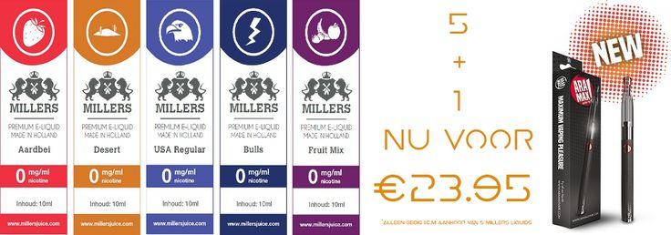 5+1 Nu voor maar €23.95 http://www.esmokez.nl/Aramax-Vaping-Pen.