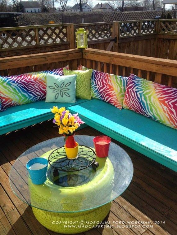DIY Outdoor Coffee Table | 21 Super Amazing Ways To Reuse Old Tires