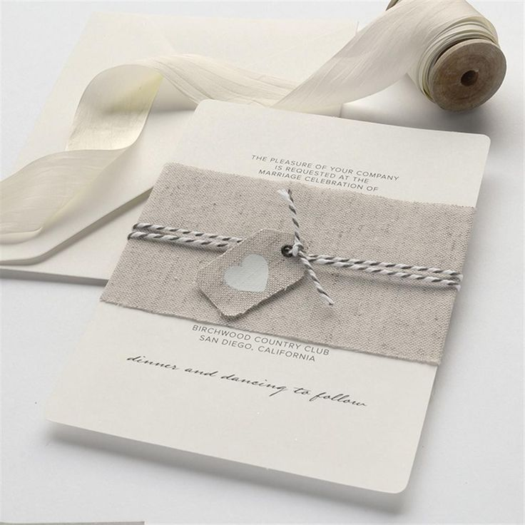 box wedding invitations online%0A Rustic Linen Heart Wedding Invitation Kit